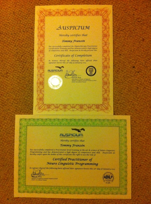 I'm a Certified in NLP & Hypnotherapy
