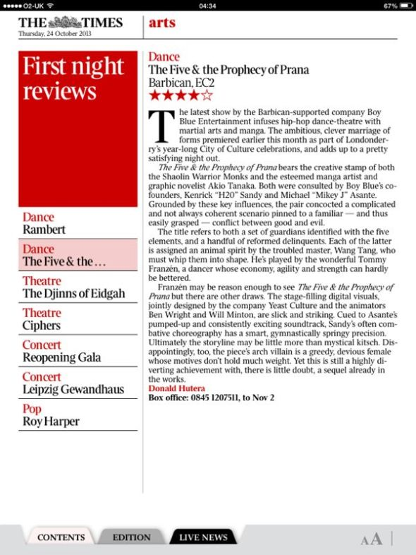 4 star review by The Times for The Five & the Prophecy of Prana